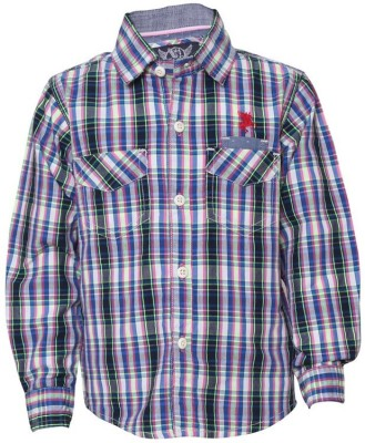 Tales & Stories Boy's Checkered Casual Pink Shirt