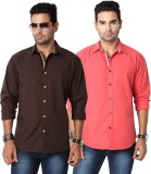 Suspense Men's Solid Casual Brown, Red S...