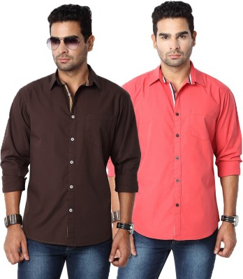 Suspense Men's Solid Casual Brown, Red Shirt
