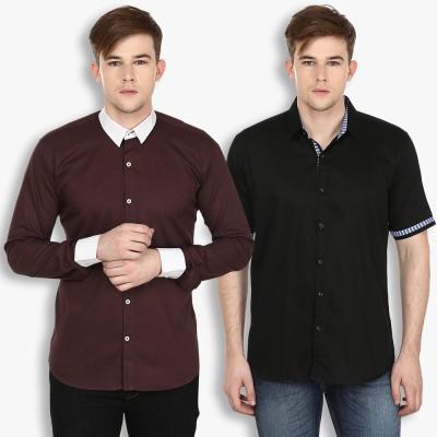 Stylox Men,s Solid Casual Black, Brown Shirt