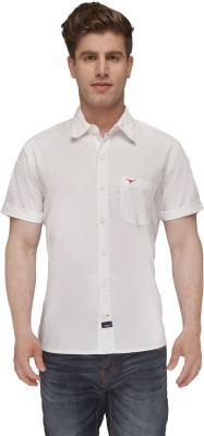 Again? Vintage Men's Solid Casual White Shirt