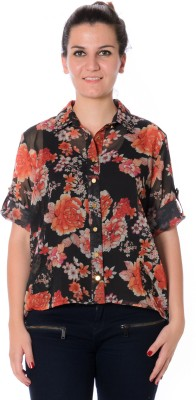Urban Religion Women's Floral Print Casual Multicolor Shirt