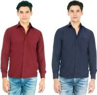 Arzaan Creations Formal Shirts (Men's) - Arzaan Creation's Men's Solid Formal Maroon, Blue Shirt(Pack of 2)