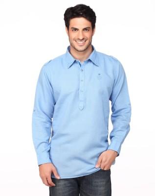 Fire & Ice Men's Woven Casual Linen Light Blue Shirt