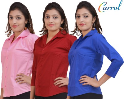 carrol Women,s, Girl's Solid Formal, Casual Blue, Maroon, Pink Shirt
