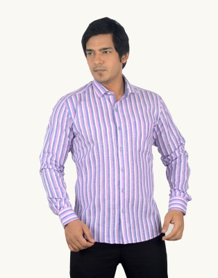 Radbone Men,s Striped Formal Linen Purple, Blue Shirt