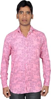 Royal Fashion Men's Floral Print Casual Pink Shirt
