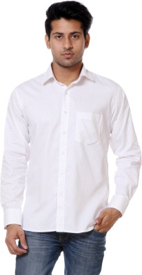 Call In France Men's Polka Print Casual White, Red Shirt