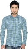 Thinc Men's Checkered Casual Green Shirt