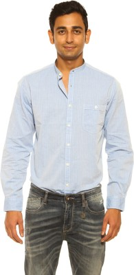 Pepe Jeans Men's Self Design Casual Blue Shirt