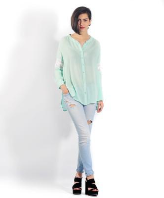 Chique Women's Self Design, Woven Casual, Party Light Blue, White Shirt