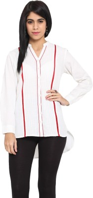 Ekmatra Women's Striped Casual White, Red Shirt
