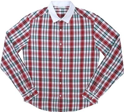 ShopperTree Men's Checkered Formal Blue Shirt