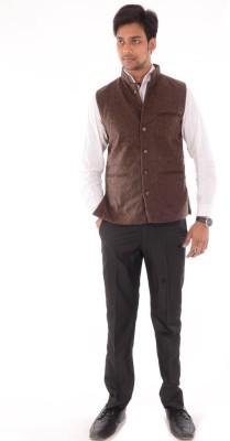 OM PRINTS Men's Self Design Casual Brown Shirt