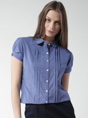 Mast & Harbour Women's Solid Casual Blue Shirt
