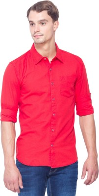 Shield & Sword Men's Solid Casual Linen Red Shirt