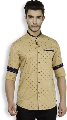The Indian Garage Co. Men,s Printed Casual Beige Shirt