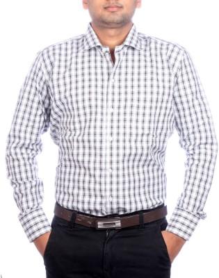 AADUKI Men's Checkered Formal Black Shirt