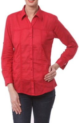 Meow Women's Solid Formal Red Shirt