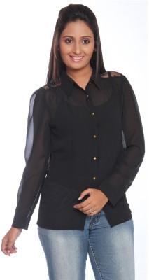 Park Avenue Women,s Solid Formal Black Shirt