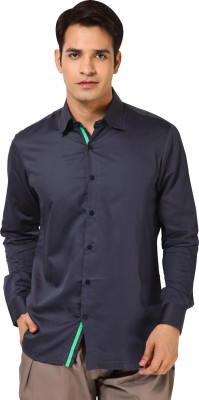 I Know Men's Solid Casual Dark Blue Shirt