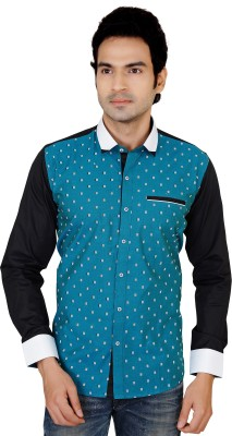 X-Secret Men's Printed Festive Green Shirt