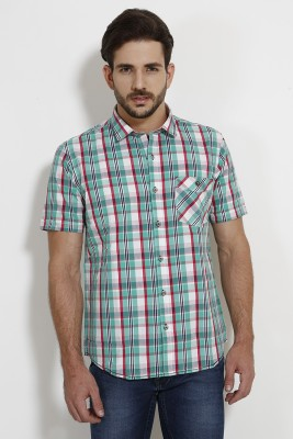 SIN Men's Checkered Casual Green Shirt