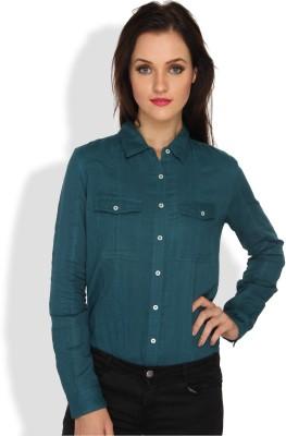 Ten on Ten Women's Solid Casual Blue Shirt