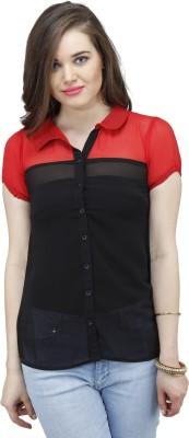 Osumfab Women's Solid Casual Red, Black Shirt