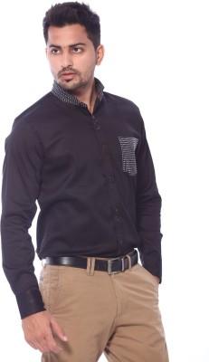 Roger Clothier Men's Solid Casual Black Shirt