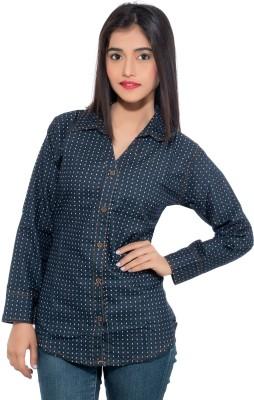 Membooz Women's Printed Casual Denim Dark Blue Shirt