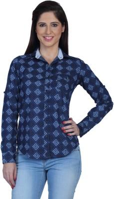 Fast n Fashion Women's Printed Casual Denim Blue Shirt