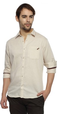 Derby Jeans Community Men's Solid Casual White Shirt