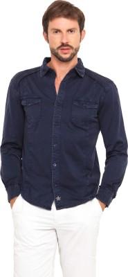 Smokestack Men's Solid Casual Dark Blue Shirt
