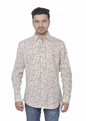 Round Bats Men's Floral Print Casual Beige, Black Shirt