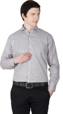 Robin Rider Men's Striped Casual Brown Shirt