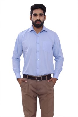 ALLANZO Men's Solid Formal Reversible Light Blue Shirt