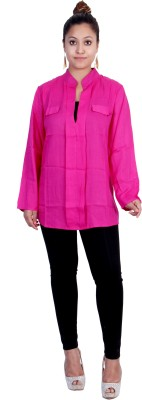 Indicot Women's Solid Formal Pink Shirt
