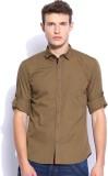 Zavlin Men's Solid Casual Brown Shirt
