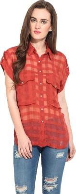 Rena Love Women's Checkered Casual Brown Shirt