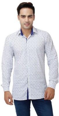 Stylox Men,s Printed Casual White, Blue Shirt