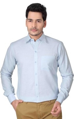 Brinley Men,s Solid Formal Blue Shirt