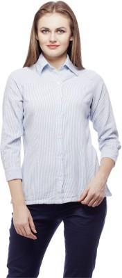 Peptrends Women's Striped Formal Blue Shirt