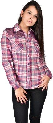 Palette Women's Checkered Casual Purple Shirt