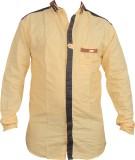 Zedx Men's Solid Casual Beige Shirt