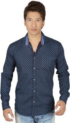 RED TOUCH Men's Printed Casual Blue Shirt