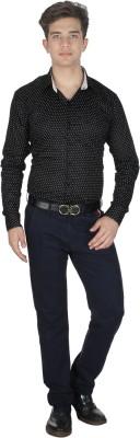 Shaurya-F Men's Printed Formal Black Shirt