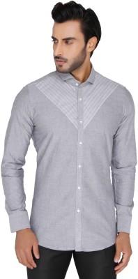 Mode De Base Italie Men's Solid Casual, Party Grey Shirt