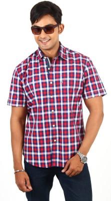 Barrier Reef Men's Checkered Casual Red, Dark Blue, White Shirt