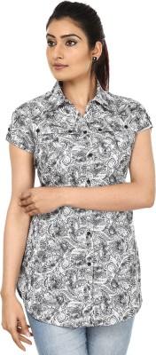Fashion Cult Women's Printed Casual White Shirt